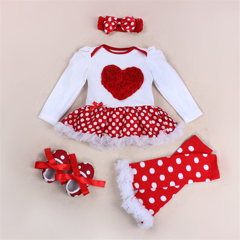 baby clothes baby rompers Bebes Jumpsuit 1st Birthday Costumes Newborn Baby Girl Clothes Infant Clothing 4pcs/set heart rompers