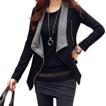 Women Korean Zipper Slim Casual Long Sleeve Jacket Outwear Coat S/M/L/XL