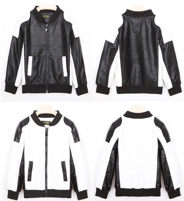 Fashion White And Black Patchwork Boys Faux Leather Jackets Coat