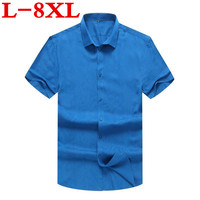Plus Size8XL 7XL 5XL Hot Sale Summer Men Shirt Short Sleeved Fashion Floral Printing Male Shirts