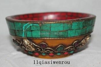 "5"" Tibet Tibetan Buddhism turquoise Red Coral Protector Deity Buddha Bowl"