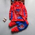 3 Unids Ropa de Niños Sets 2016 Nuevo Otoño Invierno Niño Niños Ropa de Los Muchachos Con Capucha Camiseta de la Capa de la Chaqueta Pantalones Spiderman