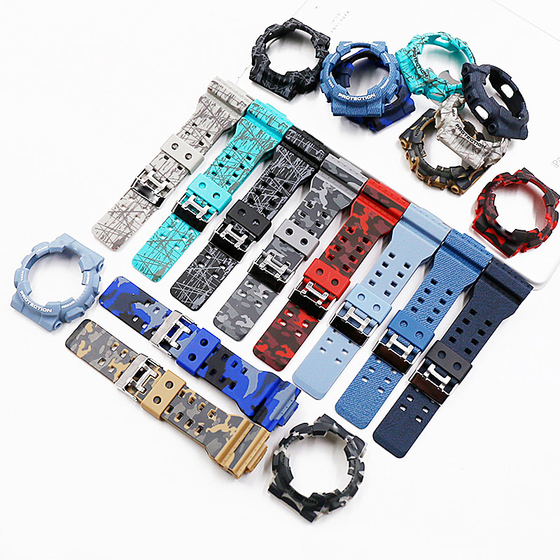 Camouflage Resin Strap Men's Watch Accessories Pin Buckle Strap Case For Casio CASIO G-SHOCK GD120GD100GA110GA100 Men Watch Band