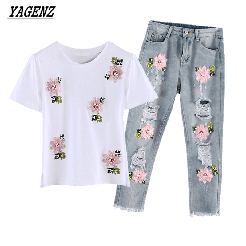 2017 Summer Women Embroidery Bead Sets Sportsing T-shirt+Hole Jeans Casual Two-piece Fashion Suit Lovely Student Clothes YAGENZ 2