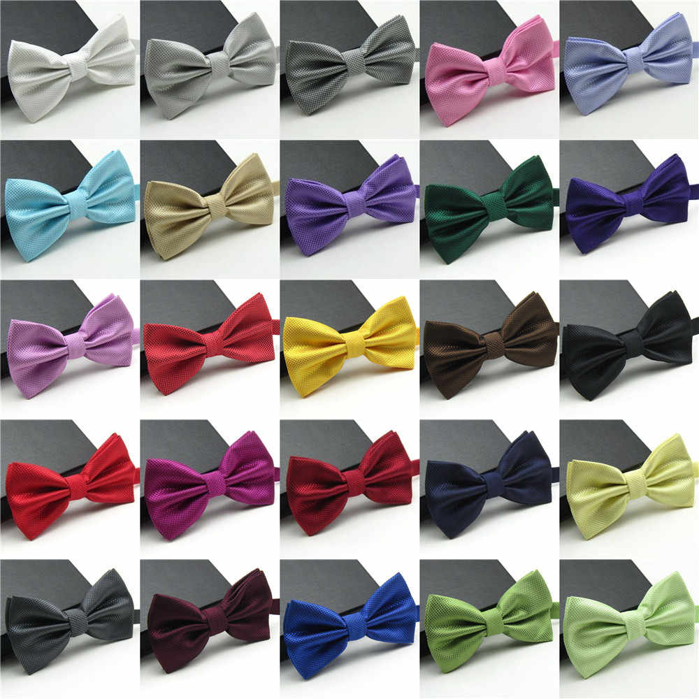 20 Colors Solid Fashion Bowties Groom Men Colourful Plaid Cravat gravata Male Marriage Butterfly Wedding Bow ties  Wedding Mens