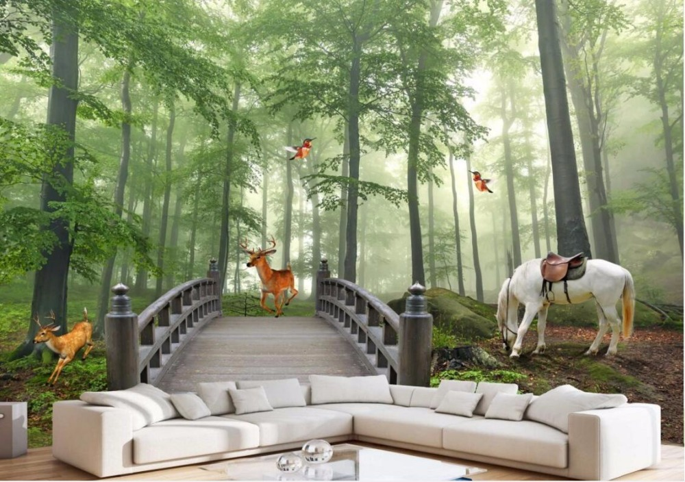Custom photo 3d room wallpaper Non-woven mural Forest horse fawn decoration painting 3d wall murals wallpaper for walls 3 d