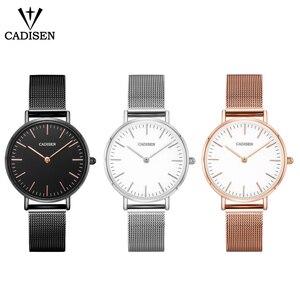 Image 5 - CADISEN スーパースリムスライバーメッシュステンレス鋼腕時計女性ブランドの高級カジュアル時計レディース腕時計女性レロジオ Feminino