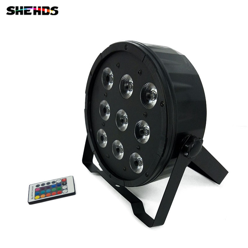 Wireless remote control LED Par 9x12W 4in1 RGBW Led Stage Light LED Flat SlimPar Quad Can With DMX512 Flat DJ 8x lot hot rasha quad 7 10w rgba rgbw 4in1 dmx512 led flat par light non wireless led par can for stage dj club party page 1