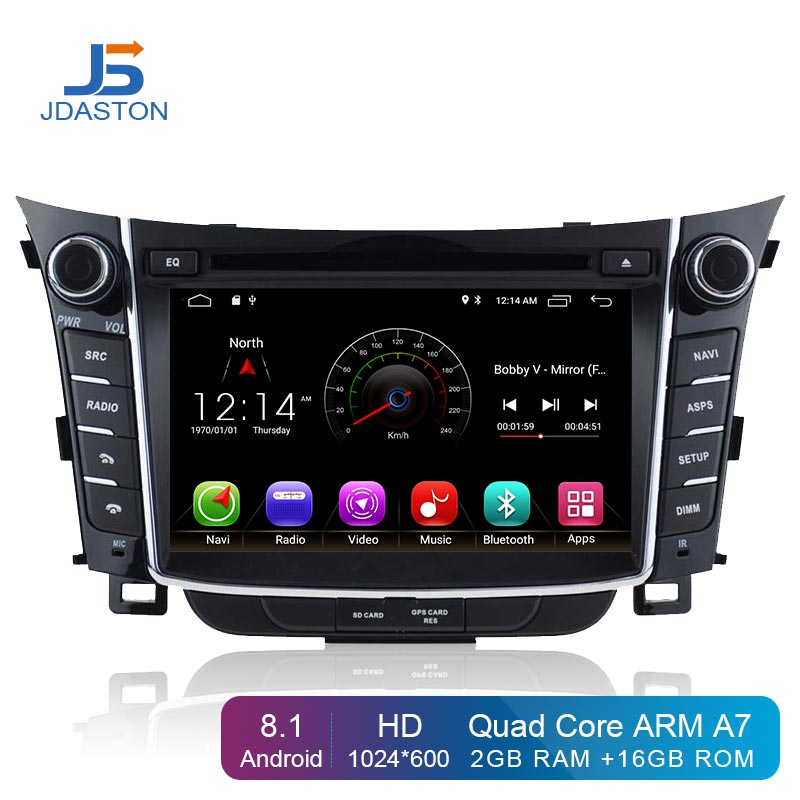 JDASTON Android 8.1 Lecteur DVD de Voiture Pour Hyundai I30 Elantra GT 2012-2017 Multimédia GPS Navigation 2 Din Voiture radio Audio Stéréo