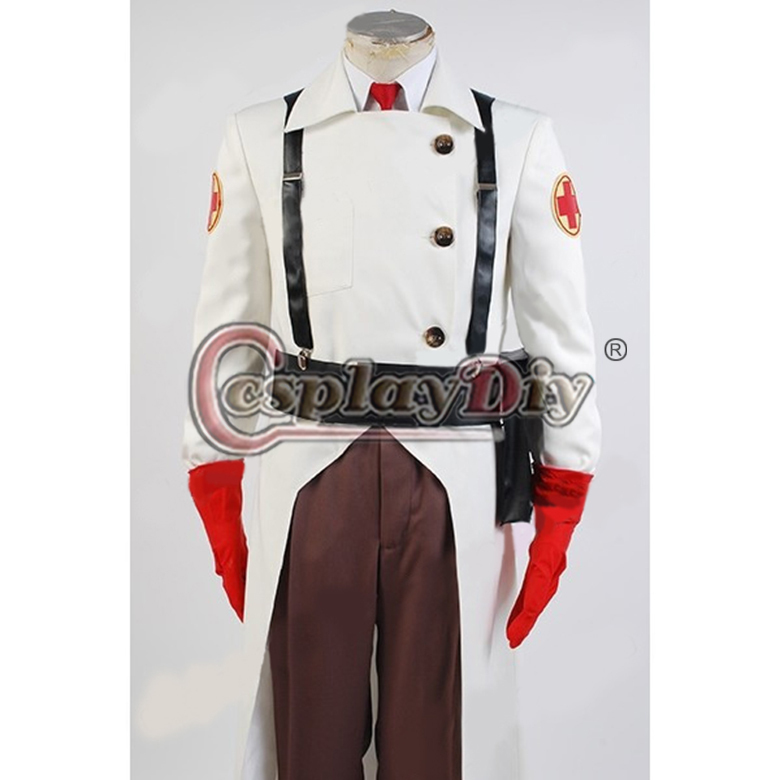 New! Hot! Team Fortress 2 Medic Suit Uniform Game Cosplay Costume;7