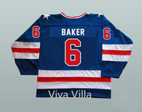1980 USA Hockey Jerseys 6 Bill Baker Miracle On Team Ice Hoceky Jersey Stitched Embroidered S