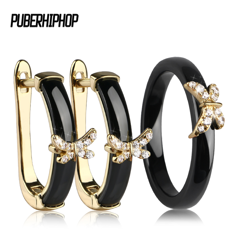 Gold Butterfly Rings and Earrings AAA Rhinestone Healthy Ceramic Jewellery sets Women Mom Gift Jewelry For Wedding Accessories