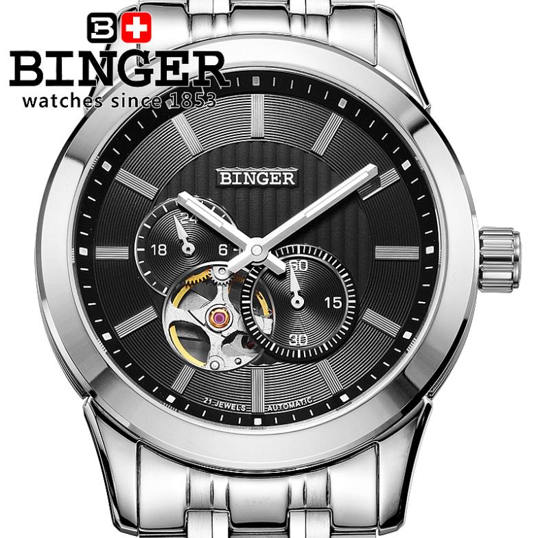 Switzerland watches men luxury brand Wristwatches BINGER 18K gold Automatic self-wind full stainless steel  waterproof BG-0406-2 switzerland watches men luxury brand wristwatches binger luminous automatic self wind full stainless steel waterproof bg 0383 4