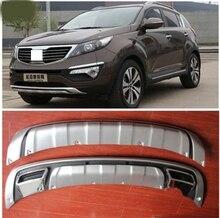 2011 2012-2014 для KIA Sportager Высокое качество пластика ABS Chrome спереди + задний бампер крышка отделка автомобиля стиль аксессуары