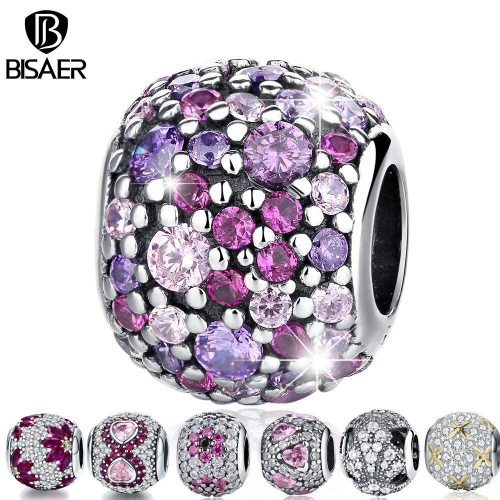 цены Real 925 Sterling Silver Charm Perles Snowflake Flower CZ Charm Beads fit Charm Bracelet & Bangles Valentine Day Gift Jewelry