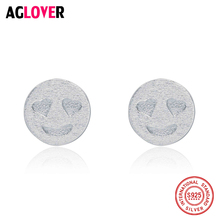 925 Sterling Silver Unique Openwork Smiley Face Classical Stud Earrings for Women Jewelry new arrival sterling silver 925 emerald earrings silver square openwork green zircon stud earrings for women palace jewelry gift