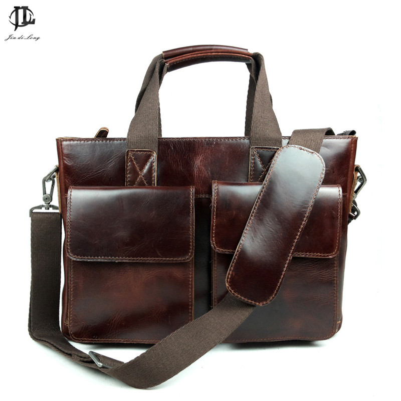 ФОТО *? New Retro Oil Wax Genuine Leather Men's Briefcase Handbag Shoulder Bussiness Zipper Laptop Messenger Bags