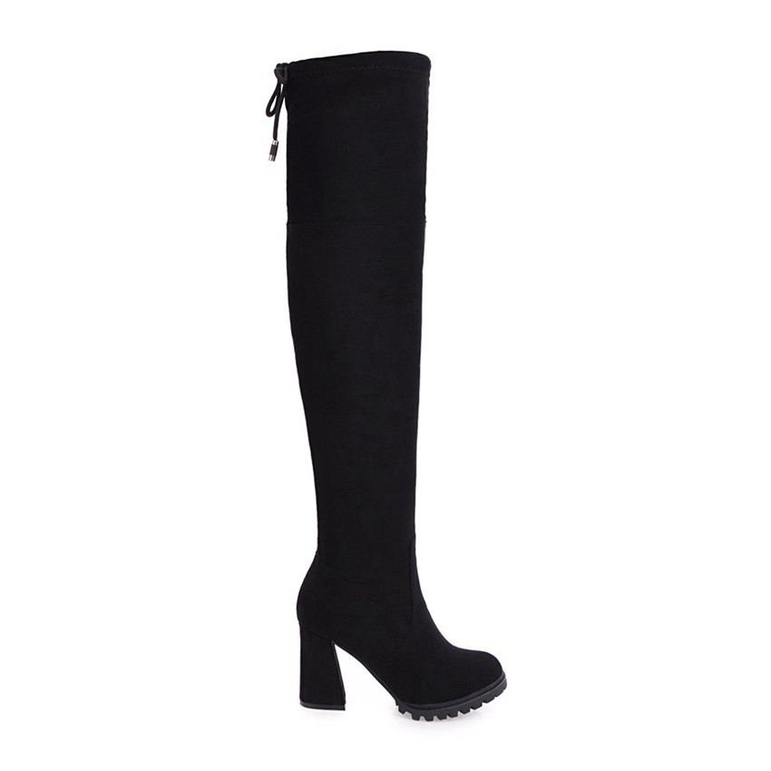 Spring Autumn Warm Platform High Heels Boots Women Over-the-Knee Boots Stretch Woman Thigh High Boots Plus Size 34 - 40 41 42 43