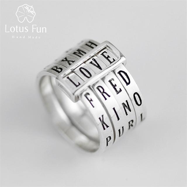 לוטוס כיף אמיתי 925 כסף סטרלינג טבעי בעבודת יד תכשיטים Rotatable טבעת יכול להפוך שונה מילות טבעות לנשים Bijoux