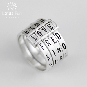 Image 1 - Lotus Fun Real 925 Sterling Silver Natural Handmade Fine Jewelry Rotatable Ring Can Make Different Words Rings for Women Bijoux