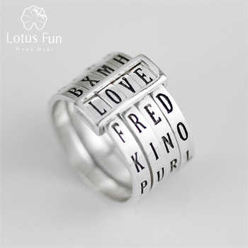 Lotus Fun Real 925 Sterling Silver Natural Handmade Fine Jewelry Rotatable Ring Can Make Different Words Rings for Women Bijoux - DISCOUNT ITEM  64% OFF All Category