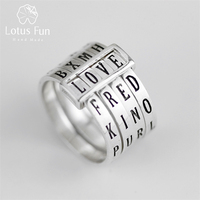 Lotus Fun Real 925 Sterling Silver Natural Handmade Fine Jewelry Rotatable Ring Can Make Different Words Rings for Women Bijoux