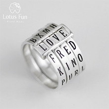 Lotus Plezier Echte 925 Sterling Zilver Natuurlijke Handgemaakte Fijne Sieraden Draaibaar Ring Kan Maken Verschillende Woorden Ringen Voor Vrouwen Bijoux