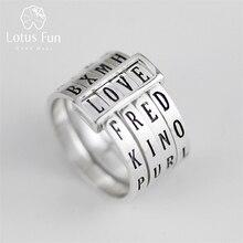 Lotus Spaß Echt 925 Sterling Silber Natürliche Handgemachte Feine Schmuck Drehbare Ring Kann Machen Verschiedene Wörter Ringe für Frauen Bijoux