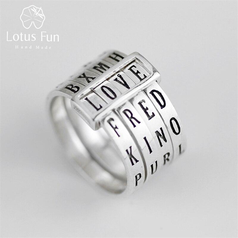 Lotus fun real 925 prata esterlina natural artesanal jóias finas anel rotativo pode fazer diferentes palavras anéis para mulher bijoux