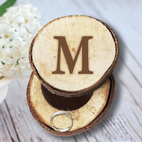 Personalized Round Rustic Wedding Wooden Ring Box Customized Letter Fashion Valentine S Day Gift Wood Anniversary