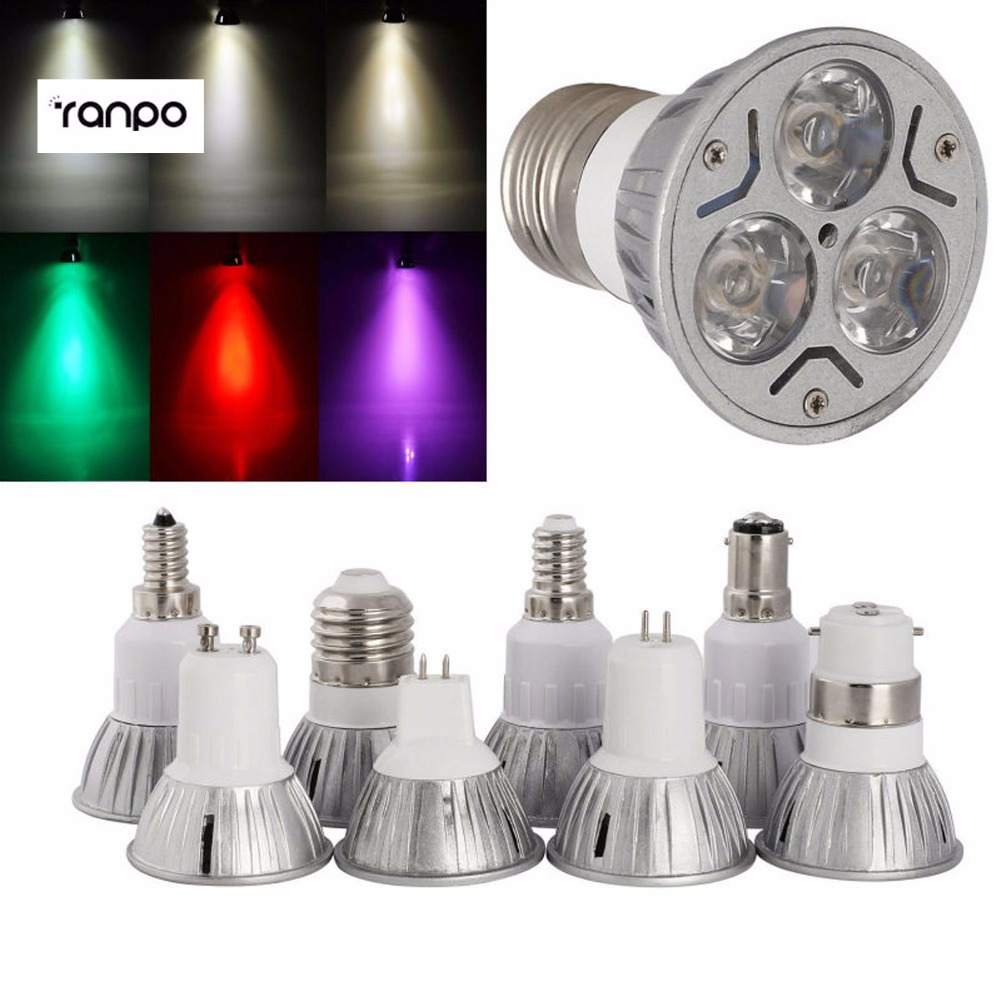 7 Colors 3W B15 B22 E27 E14 GU10 MR16 GU5.3 LED Spotlights Cool Warm Natural White Red Yellow Blue Green Purple Lamp Bulb Lights