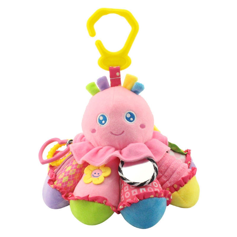 Happy Monkey Baby Plush Animal Doll Octopus Rattle Crib Hanging Developmental Soft Toys @ZJF ...