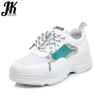JK 2018, zapatos vulcanizados de otoño para mujer, zapatos con cordones de malla de punta redonda, zapatos de plataforma, nuevas zapatillas de deporte casuales de moda para mujer, zapatos