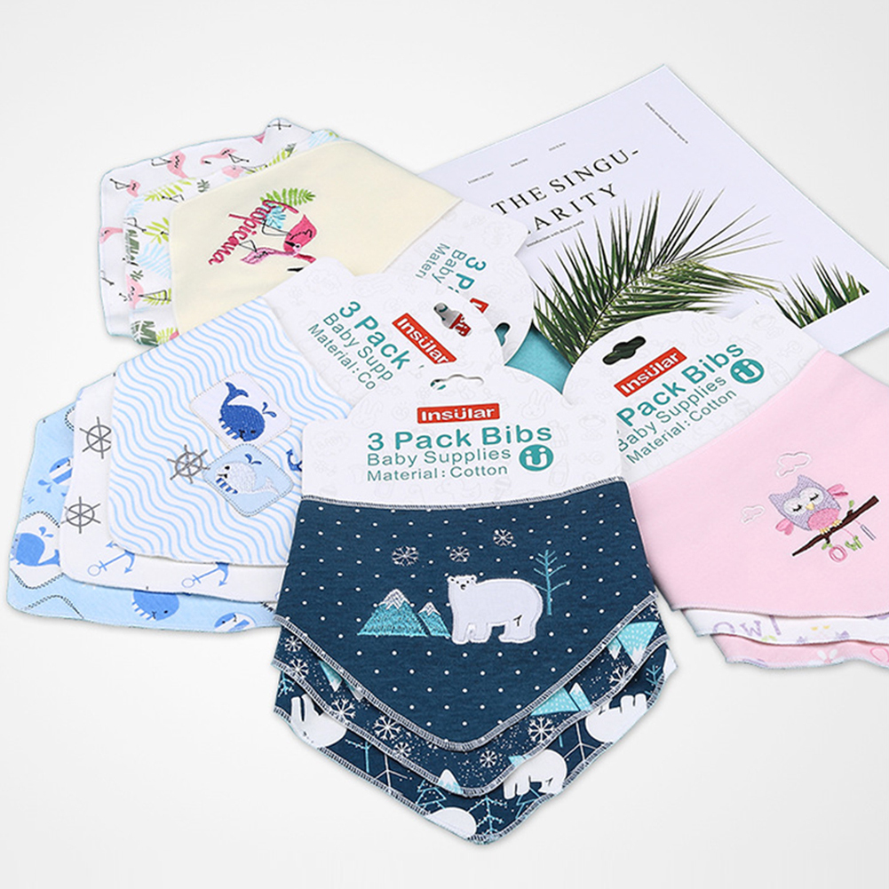 3 pieces / lot New Cute Baby Bibs Cartoon Printing Cotton Newborn Infant Girls And Boys Baby Triangle Scarf Bandana