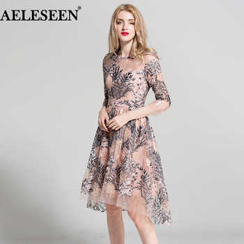 2018 European Style New Dresses 3/4 Sleeves Elegant Fashion Pink/Black Vintage Flowers Embroidery Dovetail Irregular Dresses - DISCOUNT ITEM  50% OFF All Category