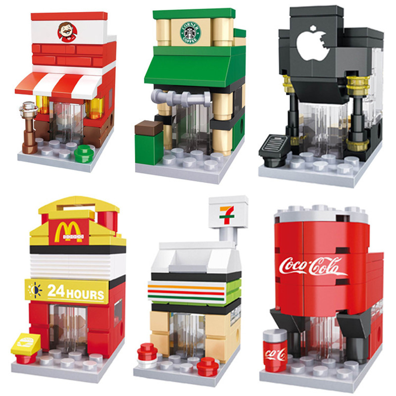 Building Blocks Mini Street City 3D Model Retail Store Shop McDonald Cafe Apple Architecture Classic Toy Compatible Legoedly legoedly city architecture mini street scene view church library police fire station book store building blocks model sets toys
