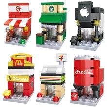 Blocos de construção de Mini Rua Da Cidade Modelo 3D McDonald Cafe Loja Loja de Varejo Da Apple Arquitetura Brinquedo Clássico Compatível Legoedly