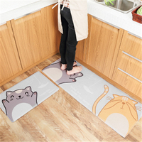 New cartoon flannel door mat family kitchen bedroom strip bathroom non slip floor mat
