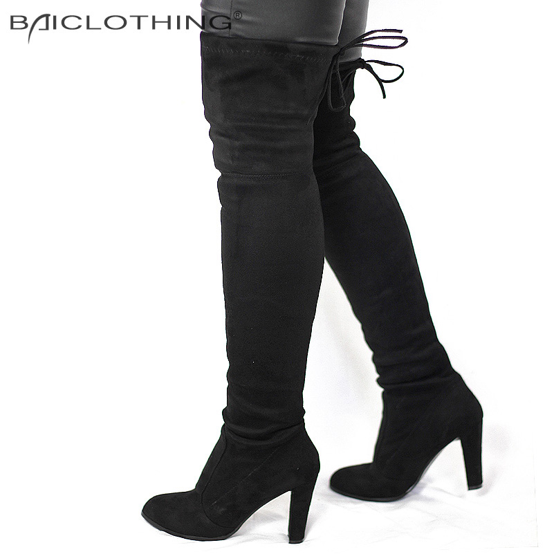 Women Faux Suede Thigh High Boots Fashion Over the Knee