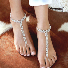 1PC Vintage Gold Color Anklets Boho Rhinestone Anklet Wedding Foot Jewelry  Chain Barefoot Sandals Beach Foot 0e837cb1833e