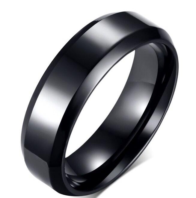 NFS 8mm y 6mm negro chapado titanio boda bandas parejas anillos conjuntos para hombres y mujeres Alianza Anel ouro tamaño