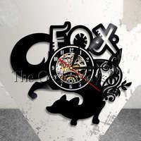 Fox Wall Clock Wild Animal Vinyl Record Clock Kid Room Nursery Black Clock Woodland Fox Lover