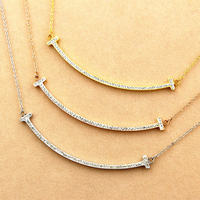 Elegant Lady Double T Smiling Face Pendant Clavicle Necklace Shiny Crystal Low Price Wholesale Brand Bijoux