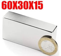 60*30*15 2pc magnet big super strong block magnets rare earth neodymium 60 x 30 X 15 mm N35
