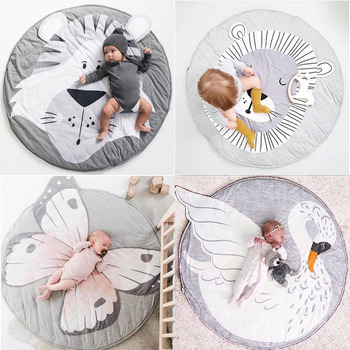 INS Baby Infant Play Mats,Toddler Crawling Cotton Blanket,Round Carpet Rug Toys Mat For Children Room Decor Photo Props 90cm ins thick round baby blanket play game mats pom pom crawling rug children toy mat carpet kids room decor photography props 90cm