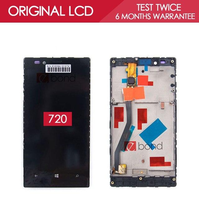 Original 800x480 ips display de 4.3 polegada para nokia lumia 720 painel frontal lcd com tela de toque digitador assembléia com a fama