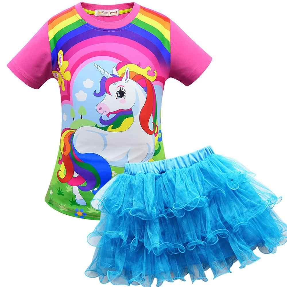 Детская одежда Платья с единорогом roupa infantil, летние праздничные наряды модная одежда для девочек-подростков Короткие Комплекты Одежда для подростков