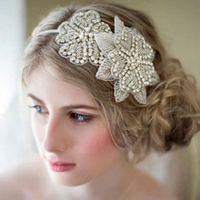 New Luxurious Handmade Rhinestone Crystal Flower Bridal Headbands Tiara Wedding Woman Hair Accessories Hairband With Ribbon Belt