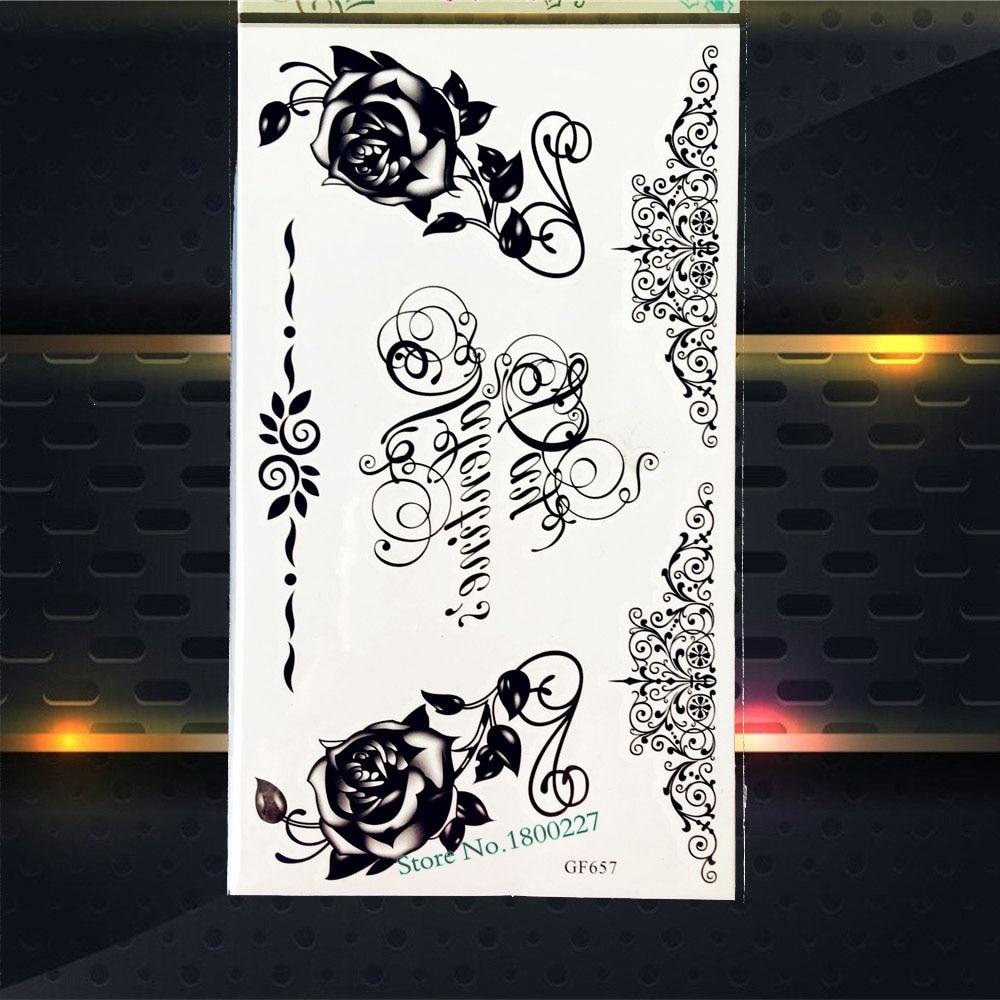 Good Quality Black Rose Henna Waterproof Temporary Tattoo Fake Flash Body Art Tattoo Arm PGF657 Flower Tattoo Stickers Vines
