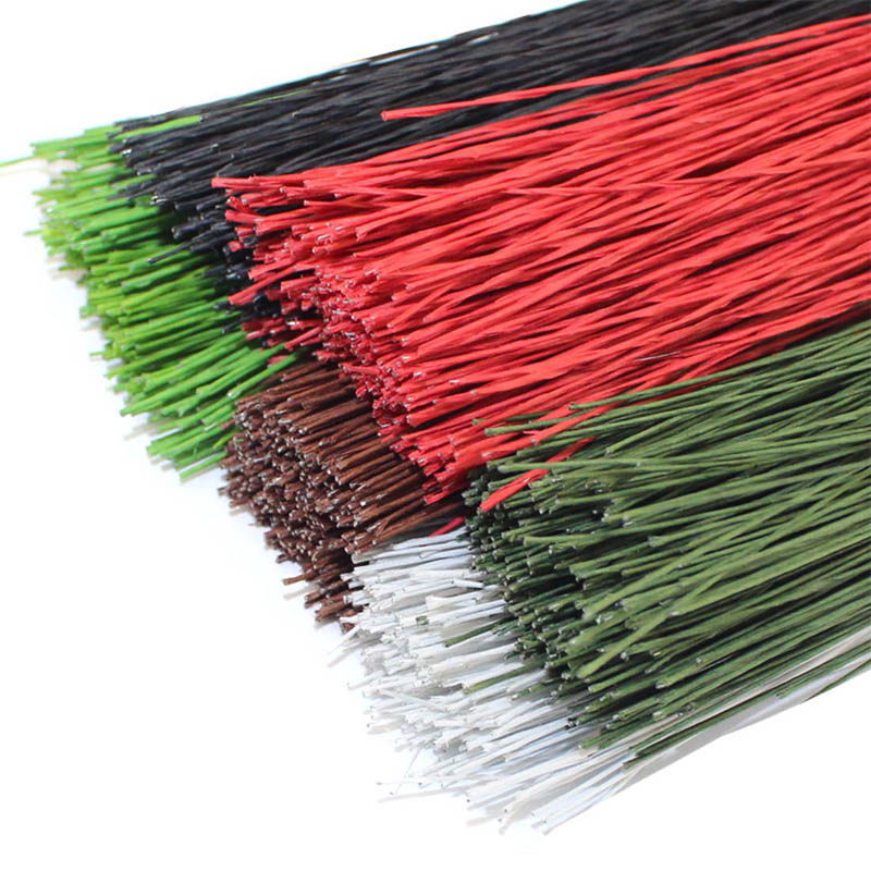 CCINEE 50PCS #24 Paper Covered Wire 0.55mm/0.0216Inch Diameter 40cm Long Iron Wire Used For DIY Nylon Stocking Flower Making